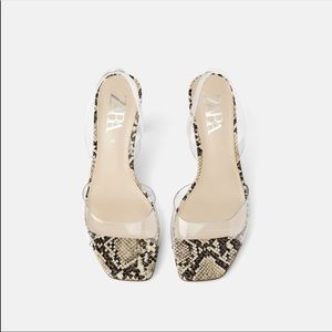New Zara clear strap snake print heel sandals 7
